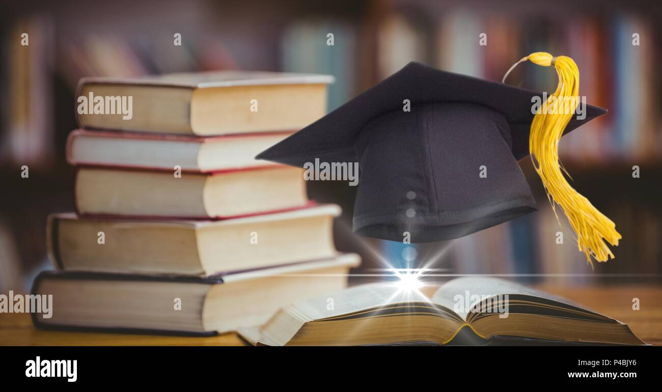 Composed image of academic hat with books - Stock Image