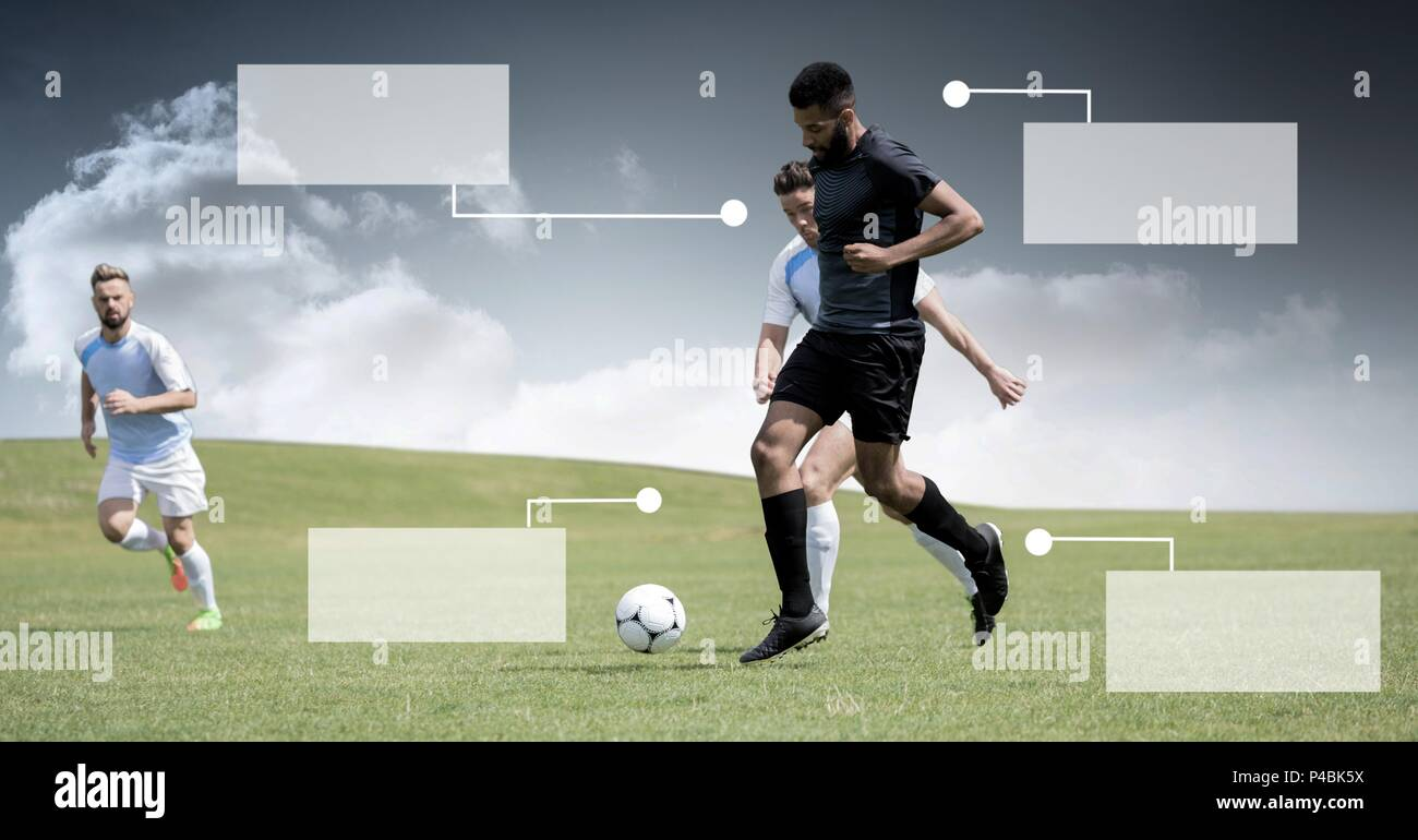 Blank infographic panels and Soccer players on grass with sky - Stock Image