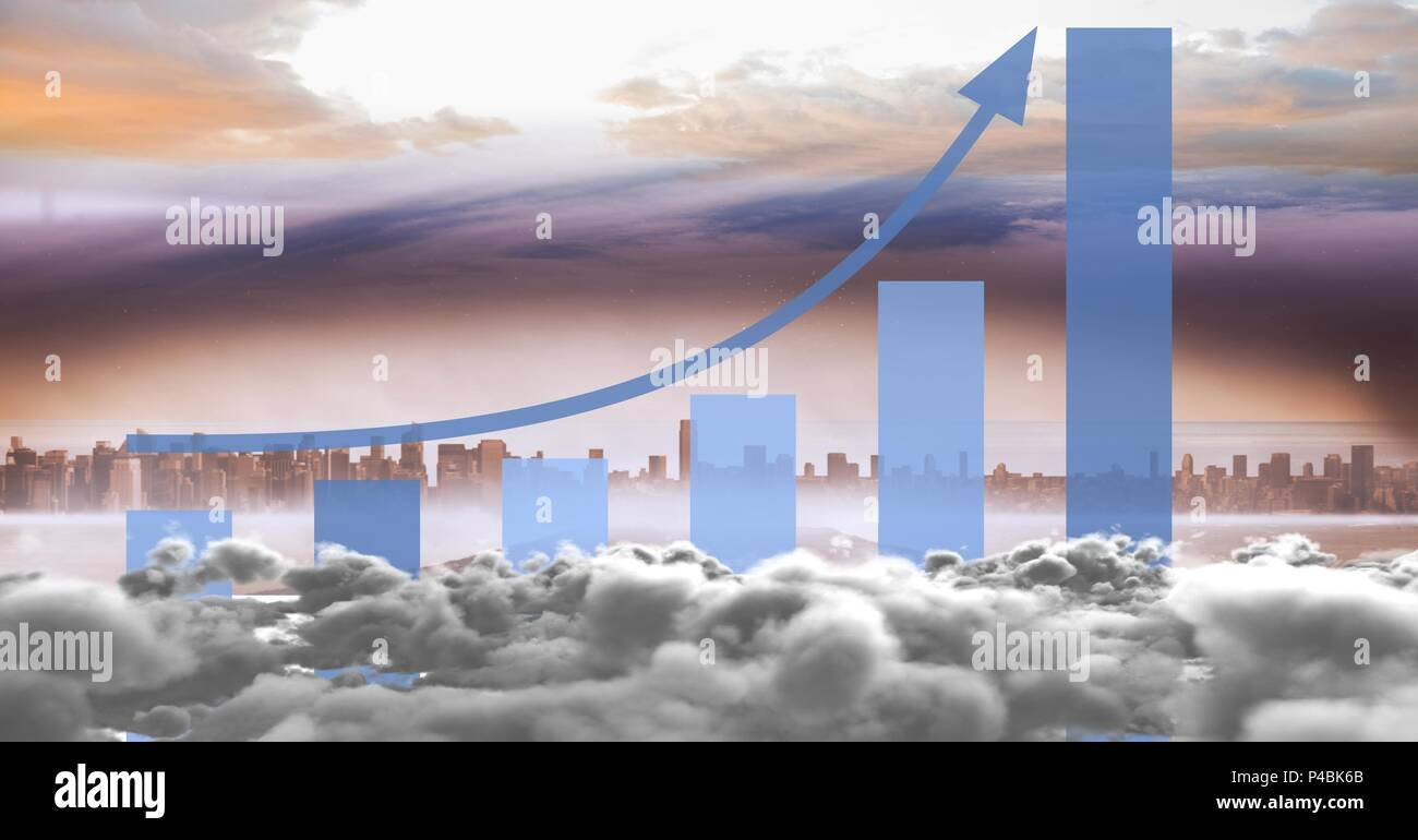 Composite image of skyline with clouds and statistical graph - Stock Image