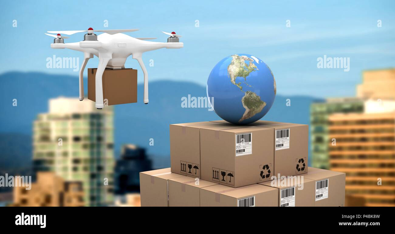 Drone flying by city with delivery parcel boxes and world globe - Stock Image