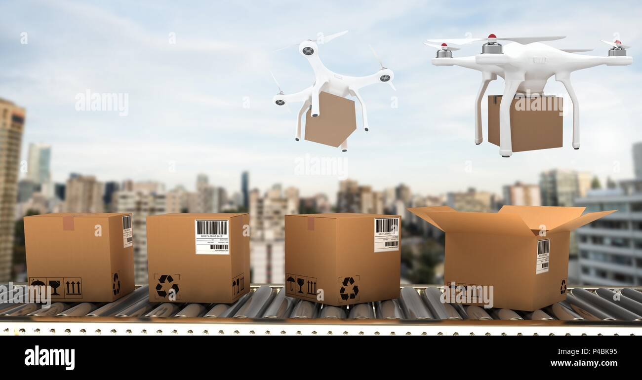 Drones flying by city with delivery parcel boxes - Stock Image