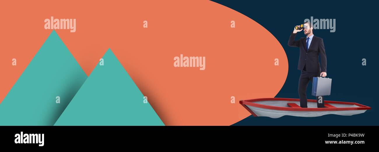 Composite of businessman with binoculars standing in boat with symmetric shapes - Stock Image