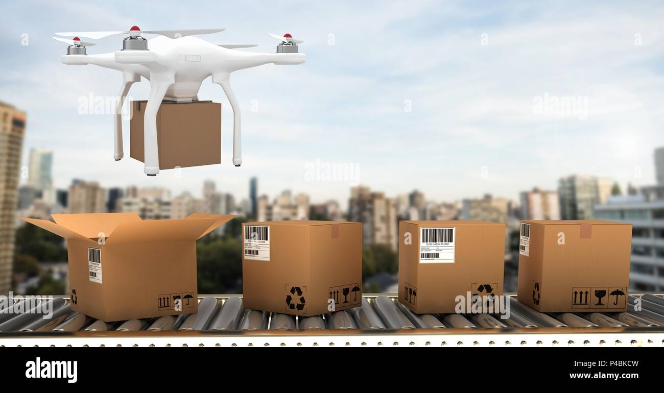 Drone flying over conveyor belt by city with delivery parcel boxes - Stock Image
