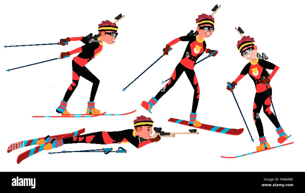 Biathlon Male Player Vector. Playing In Different Poses. Man Athlete. Rifle Gun. Participant In Competition. Shooting. Isolated On White Cartoon Character Illustration - Stock Image