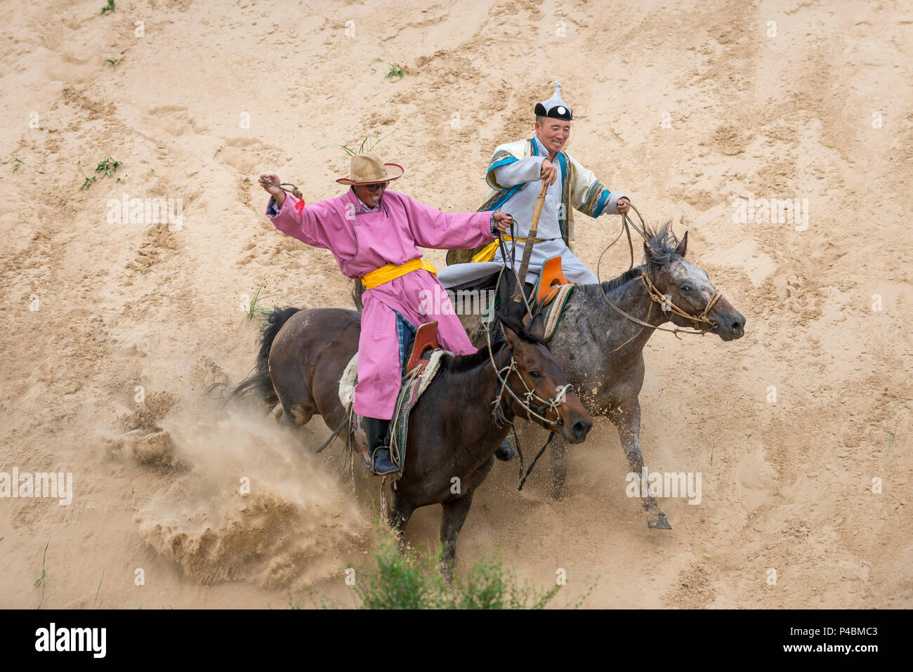 Horsemen dressed carries rope and pole urga, while herding camels along sand dunes, Xilinhot, Inner Mongolia, China - Stock Image