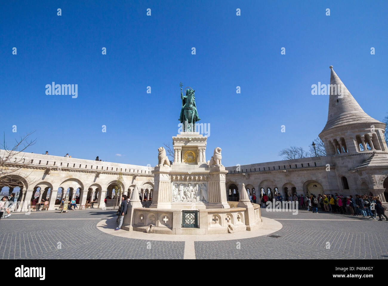 BUDAPEST, HUNGARY - APRIL 8, 2017: Stephan I statue (Szent Istvan) on Fisherman's Bastion (Halaszbastya) in Budapest castle during the afternoon. This - Stock Image