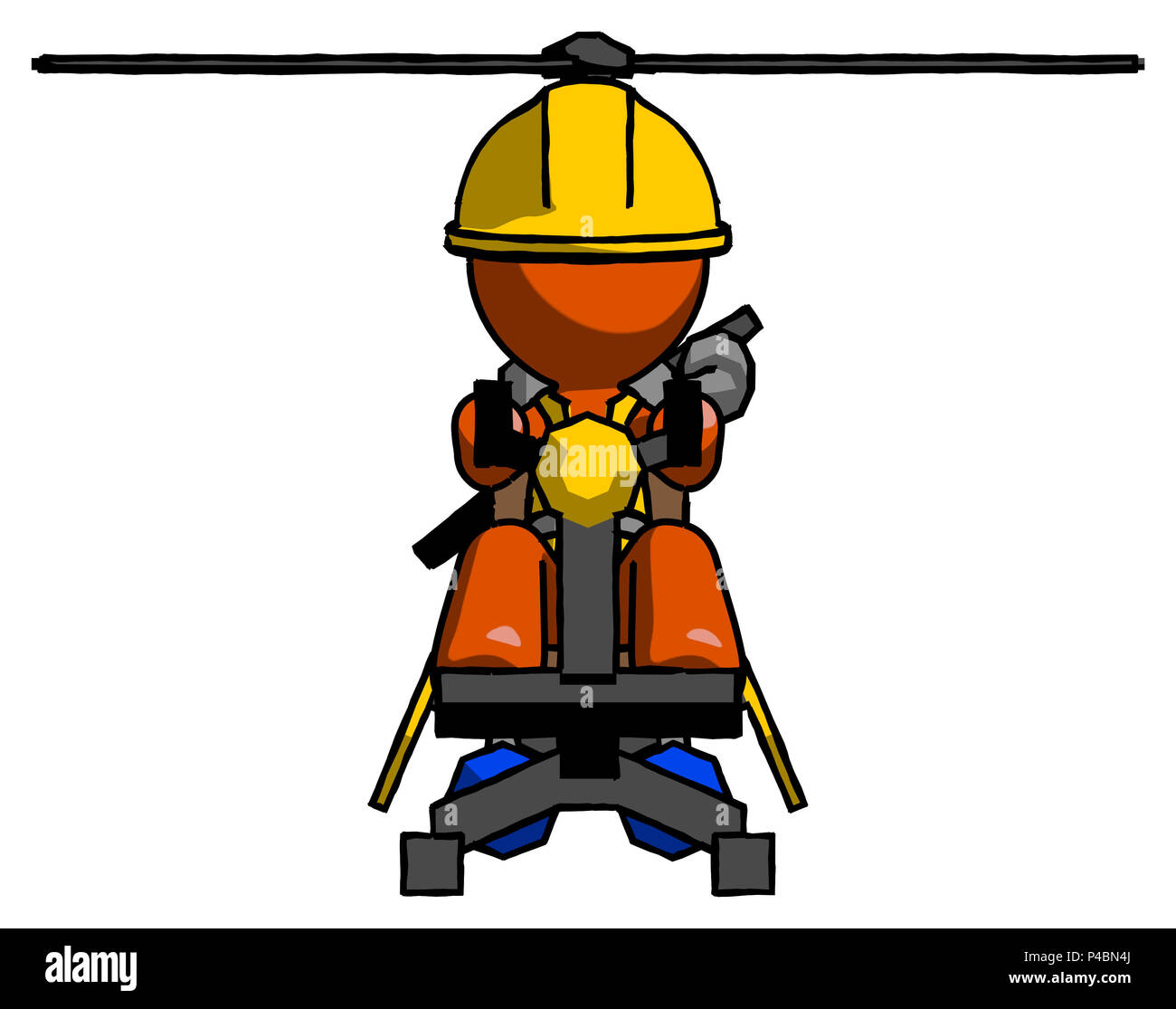 Orange Construction Worker Contractor Man flying in gyrocopter front view - Stock Image