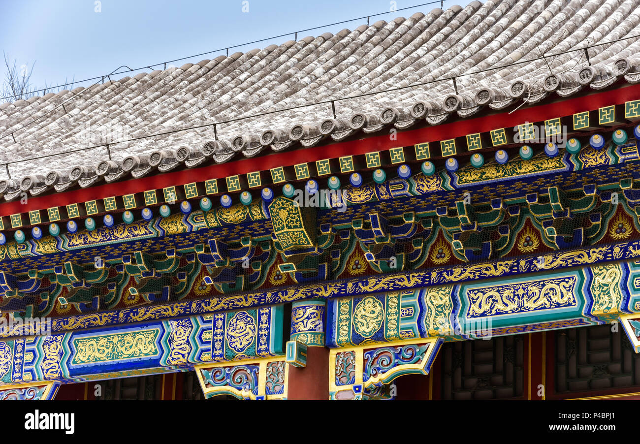 traditional chinese architecture roof and eaves stock photo