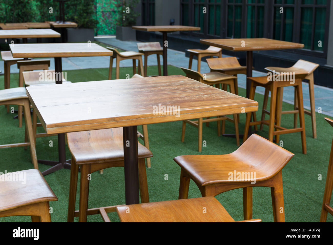 Modern Wooden Table And Chair Set At Outdoor Luxury Cafe Stock Photo Alamy