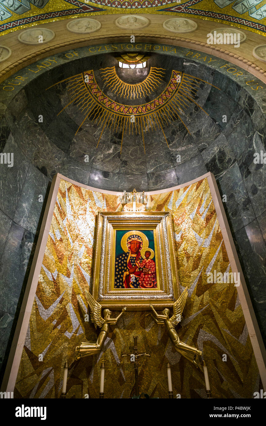 USA, District of Columbia, Washington, Basilica of the National Shrine of the Immaculate Conception, painting of the Virgin Mary Stock Photo