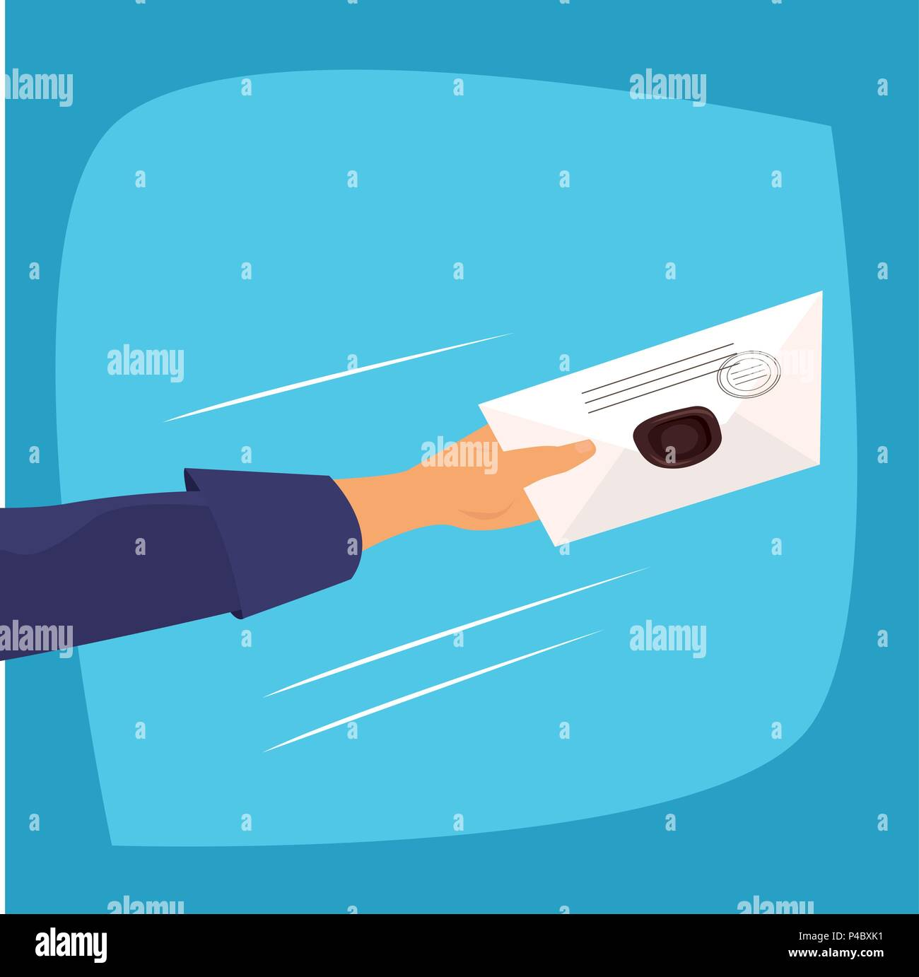 Square clip art in comic style, human hand of a man or postman quickly holds out paper letter or correspondence with a stamp. Mail or delivery concept - Stock Image