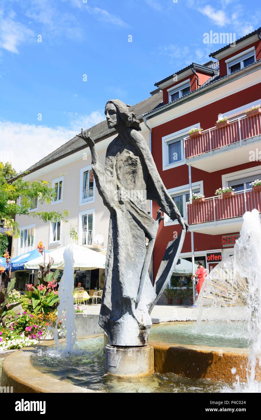 Millstatt am See, fountain at main road, Kärnten, Carinthia, Austria - Stock Image