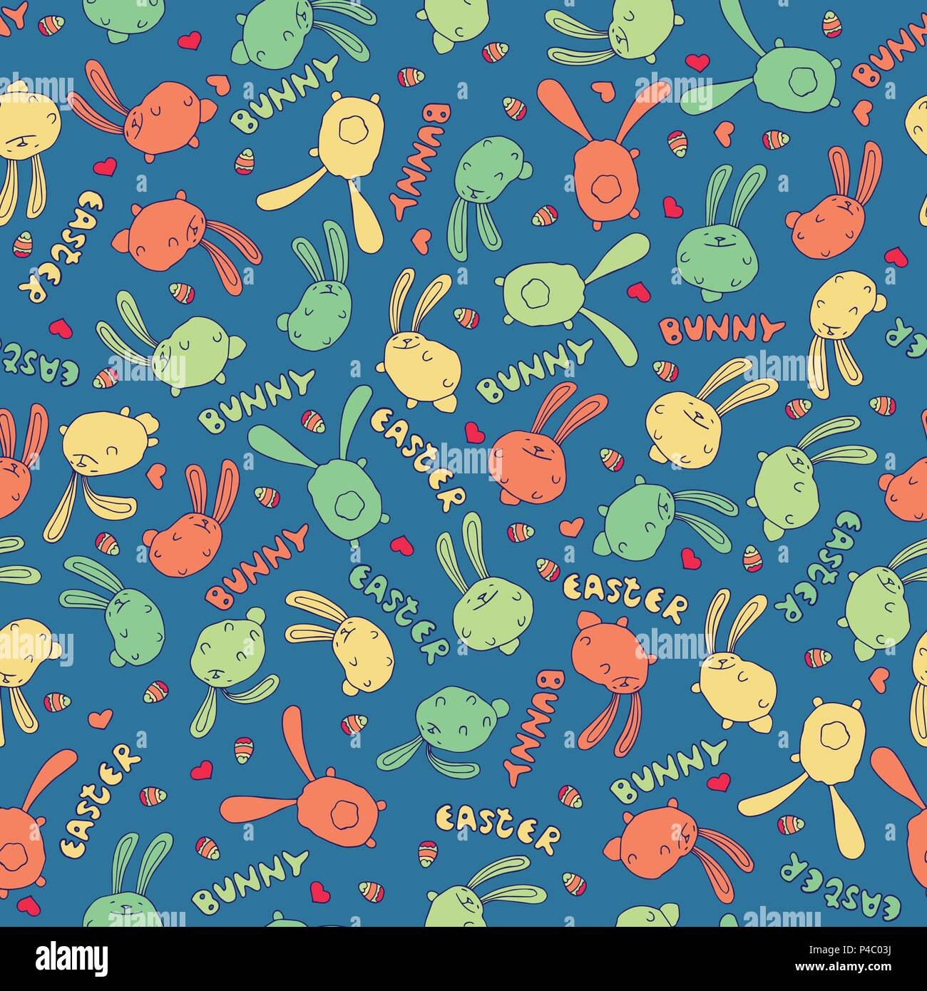Seamless Nature Pattern With Cute Bunny Or Rabbit In Blue Color