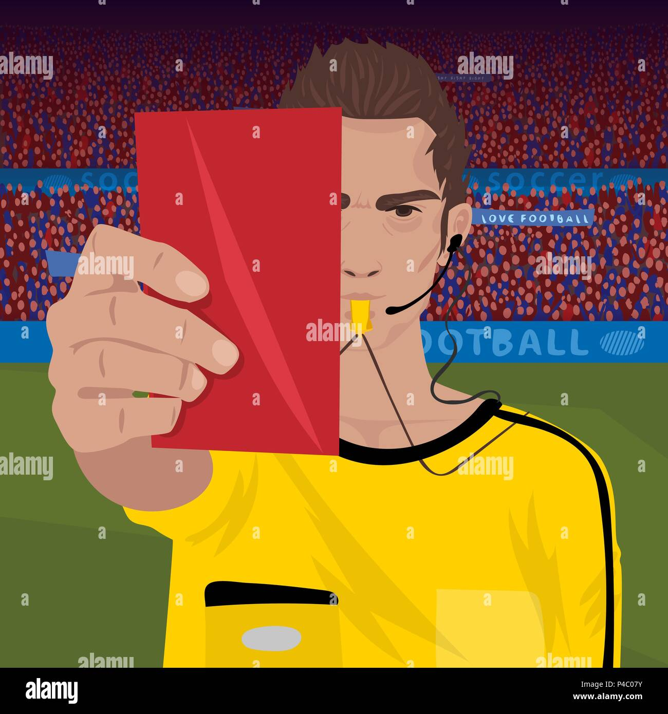 Close Up Of Soccer Referee Whistling And Holding Red Card Football