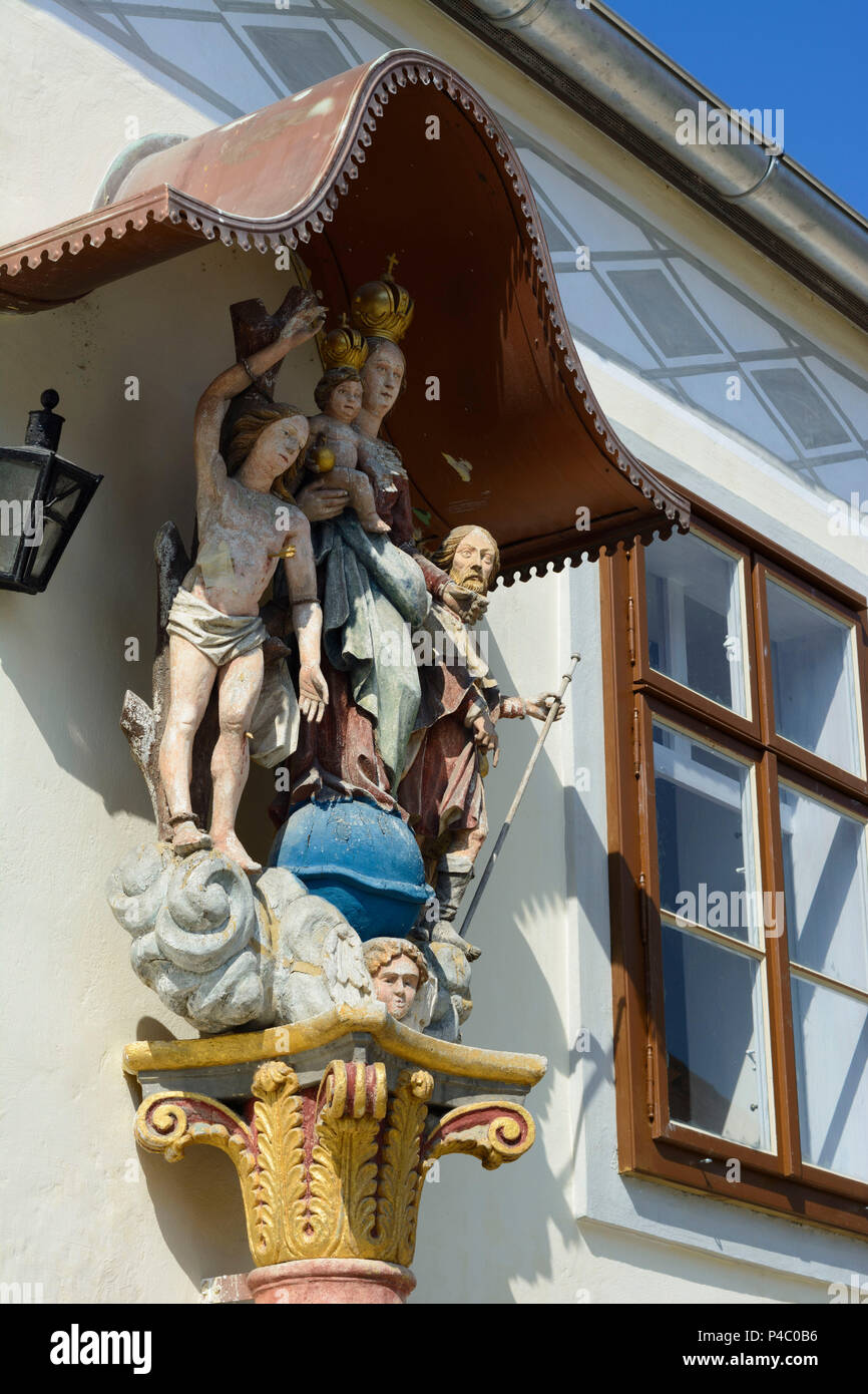 Purbach am Neusiedler See, piety figures at house, Neusiedler See (Lake Neusiedl), Burgenland, Austria - Stock Image