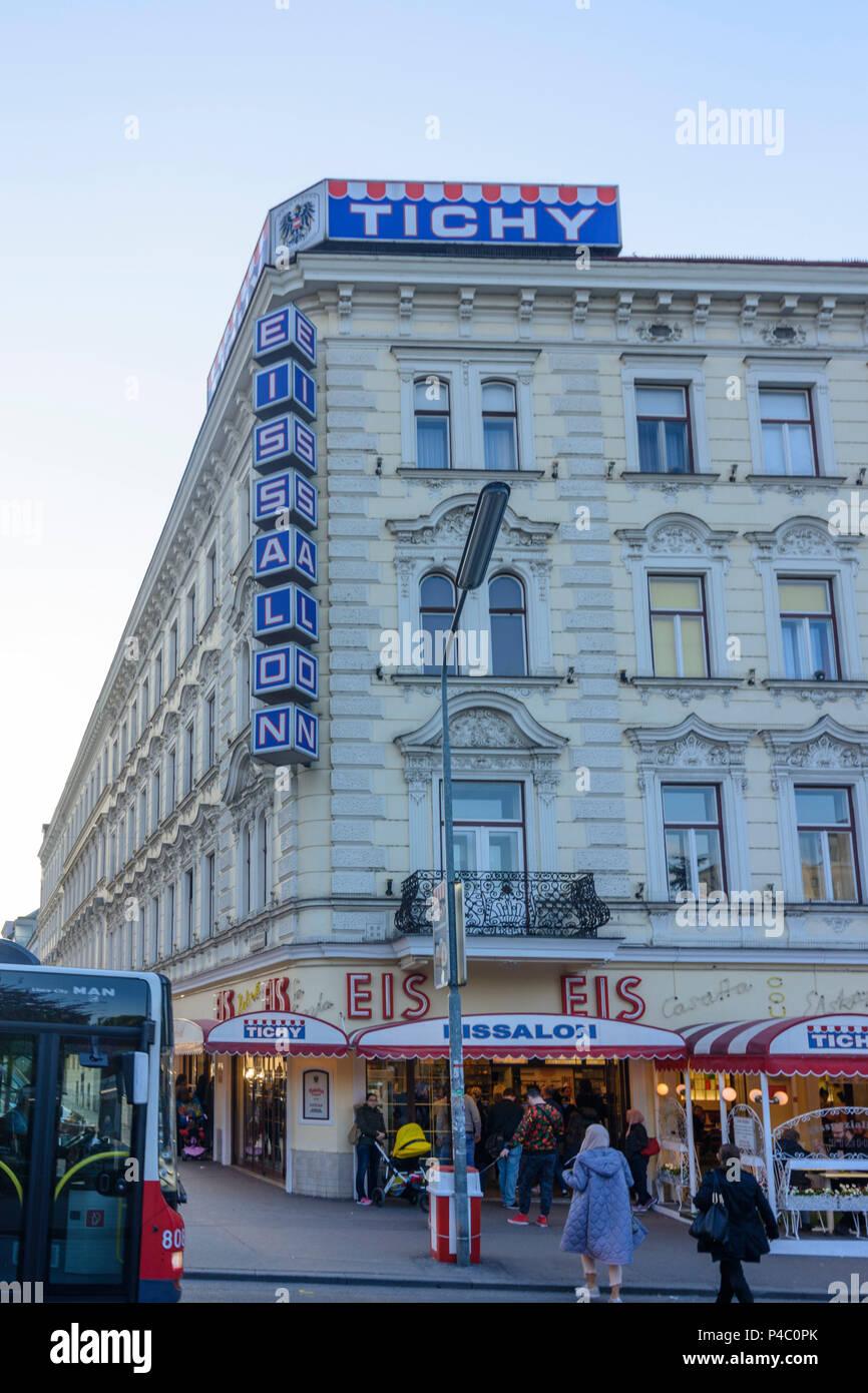 Vienna, ice cream parlor shop 'Tichy' at square Reumannplatz, 10. Favoriten, Wien, Austria Stock Photo
