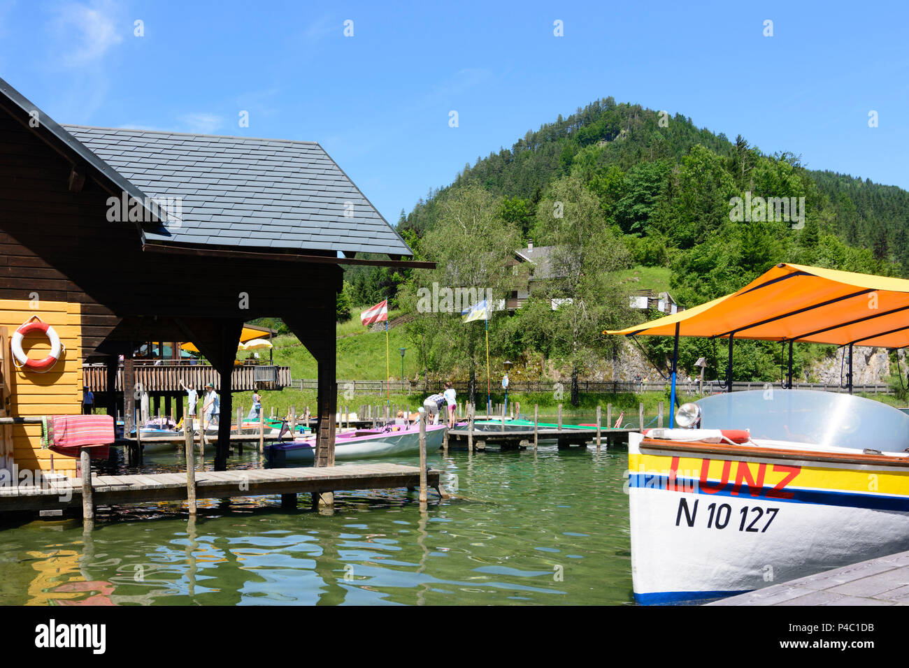 Lunz am See, lake Lunzer See, boat house, rental boats