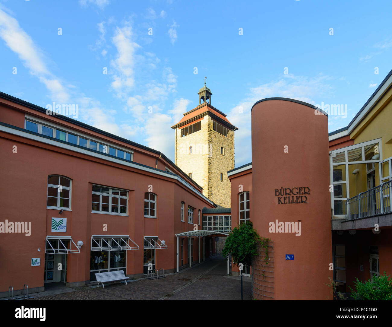 Bruchsal, Bürgerpark, Stadttheater (Citizens' Park, City Theater), tower Bergfried, Kraichgau-Stromberg, Baden-Wuerttemberg, Germany Stock Photo