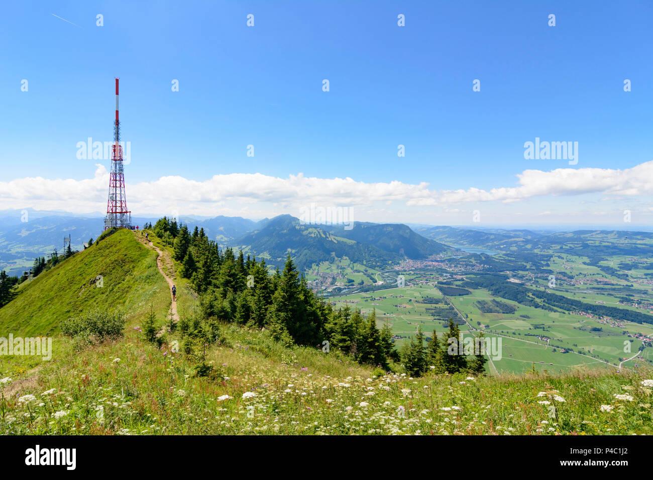 Immenstadt, mountain Grünten summit Hochwartspitze, transmitter, view to Immenstadt, Schwaben, Allgäu, Swabia, Bavaria, Germany Stock Photo