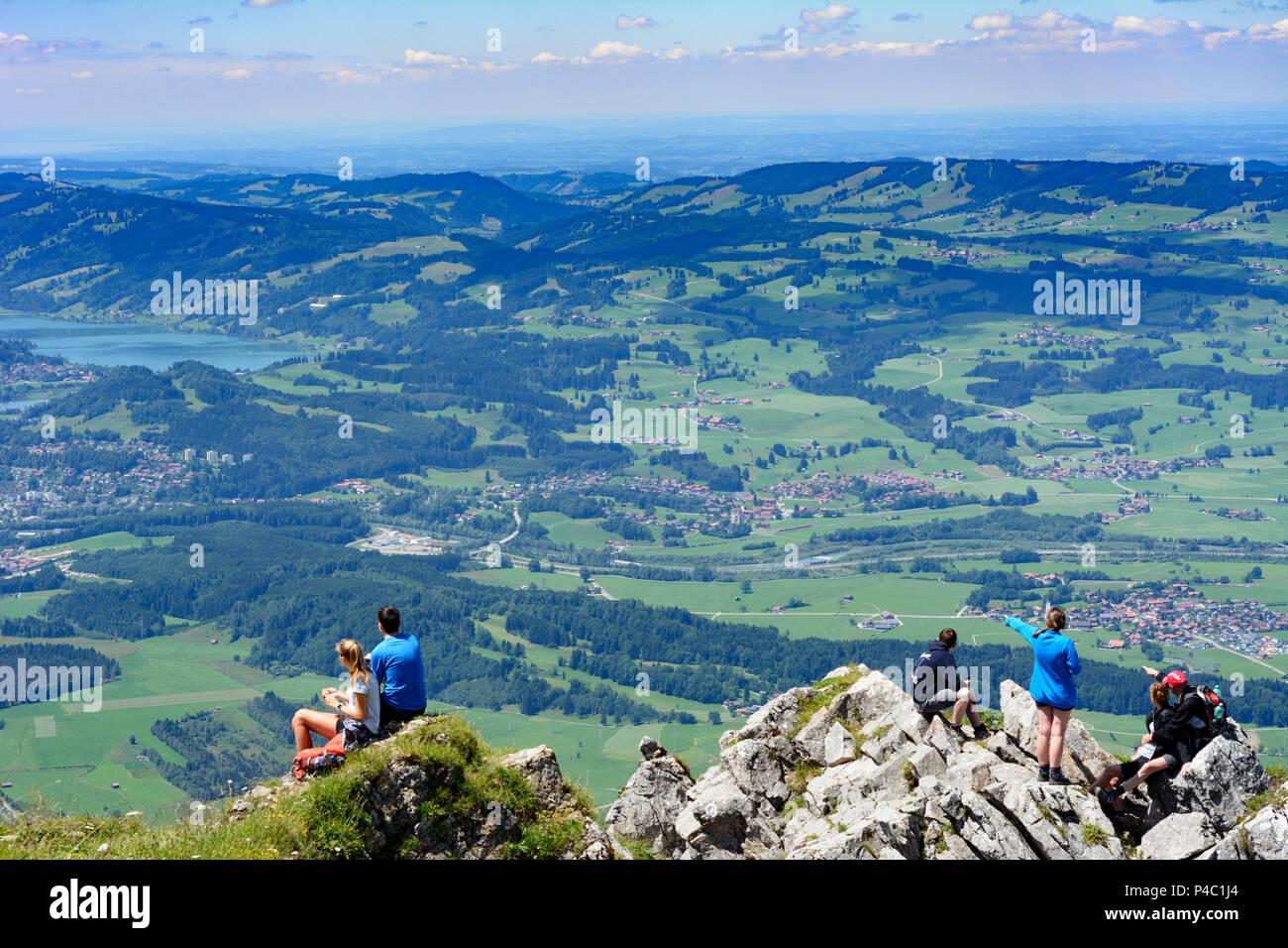 Immenstadt, mountain summit Grünten, view to Immenstadt and lake Großer Alpsee, hiker, Schwaben, Allgäu, Swabia, Bavaria, Germany Stock Photo
