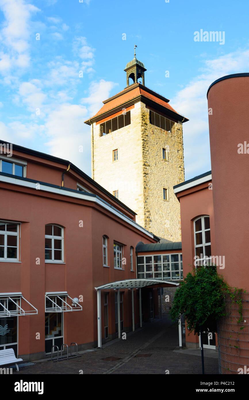 Bruchsal, Bürgerpark, Stadttheater (Citizens' Park, City Theater), tower Bergfried, Kraichgau-Stromberg, Baden-Wuerttemberg, Germany Stock Photo