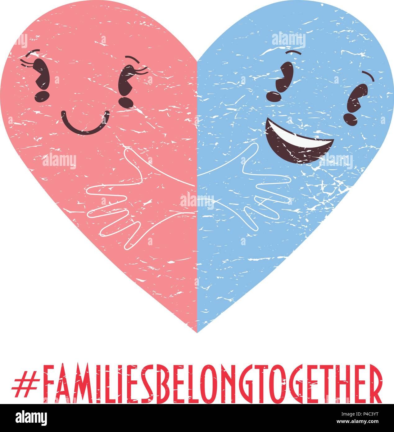 Family Belong Together Trendy Vector Illustration Two Halves Of