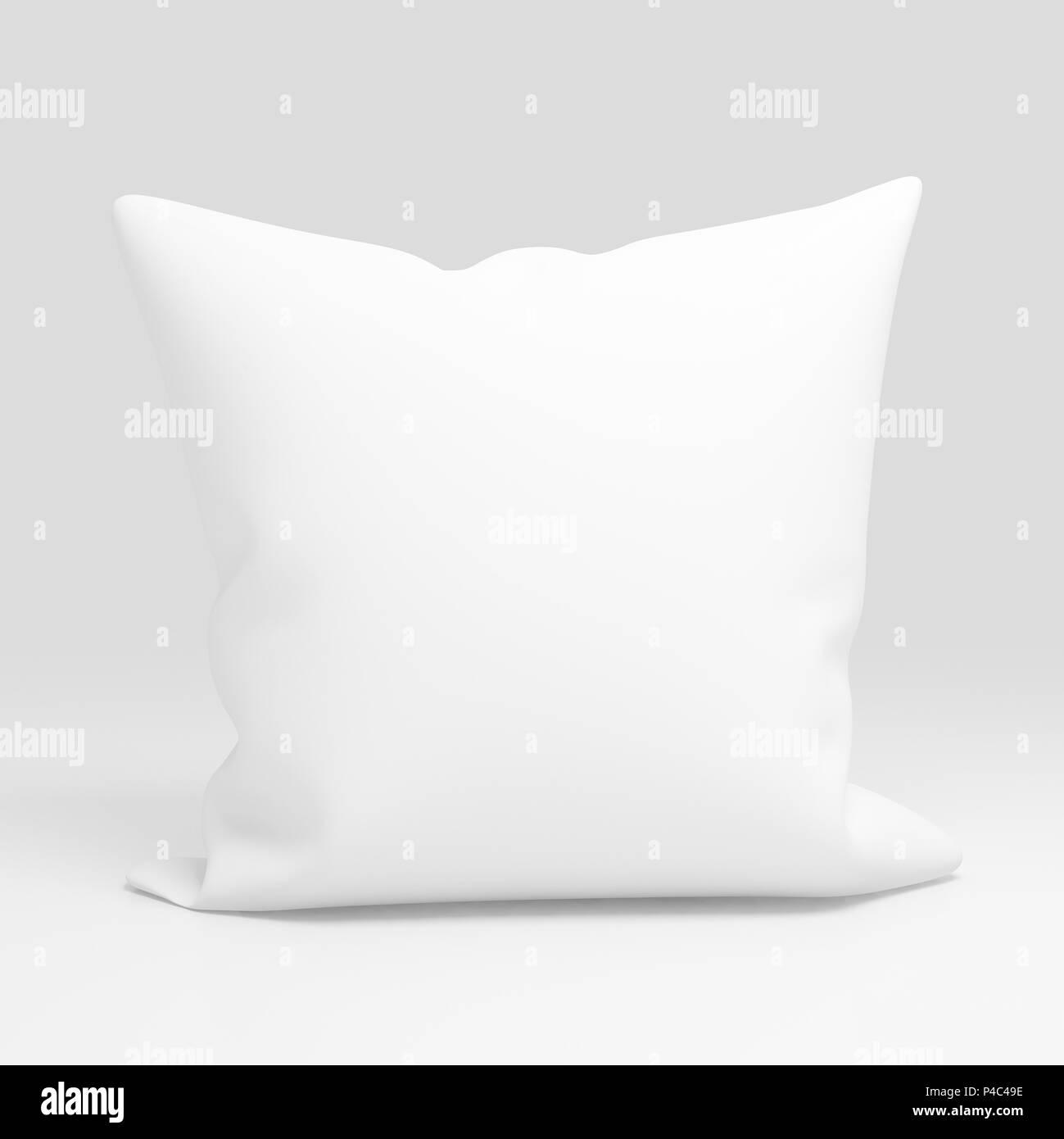 blank white pillow case design mockup isolated 3d illustration