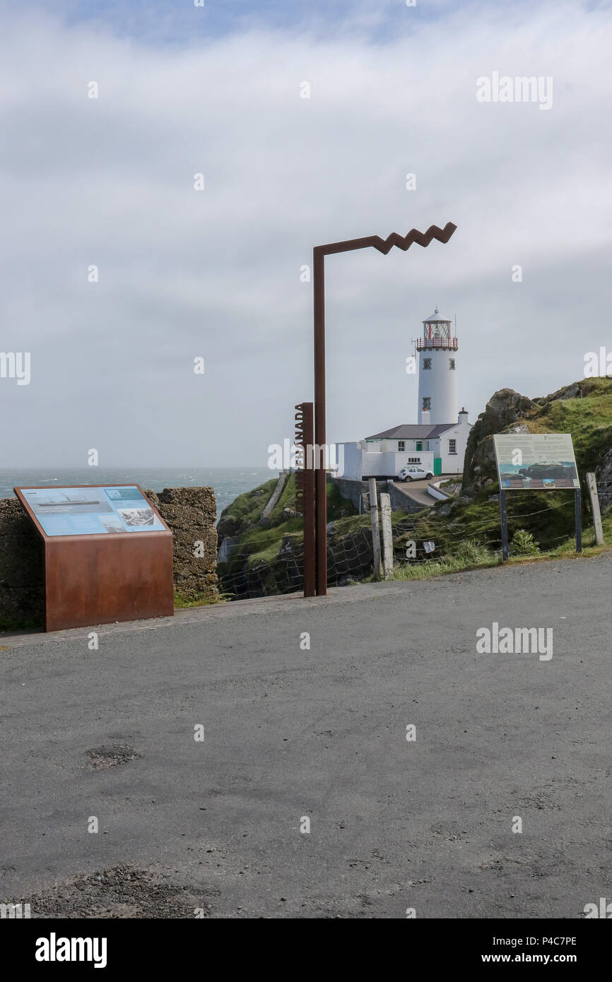 Wild Atlantic Way Discovery sign at Fanad Head County Donegal with Fanad Lighthouse  in the background. - Stock Image
