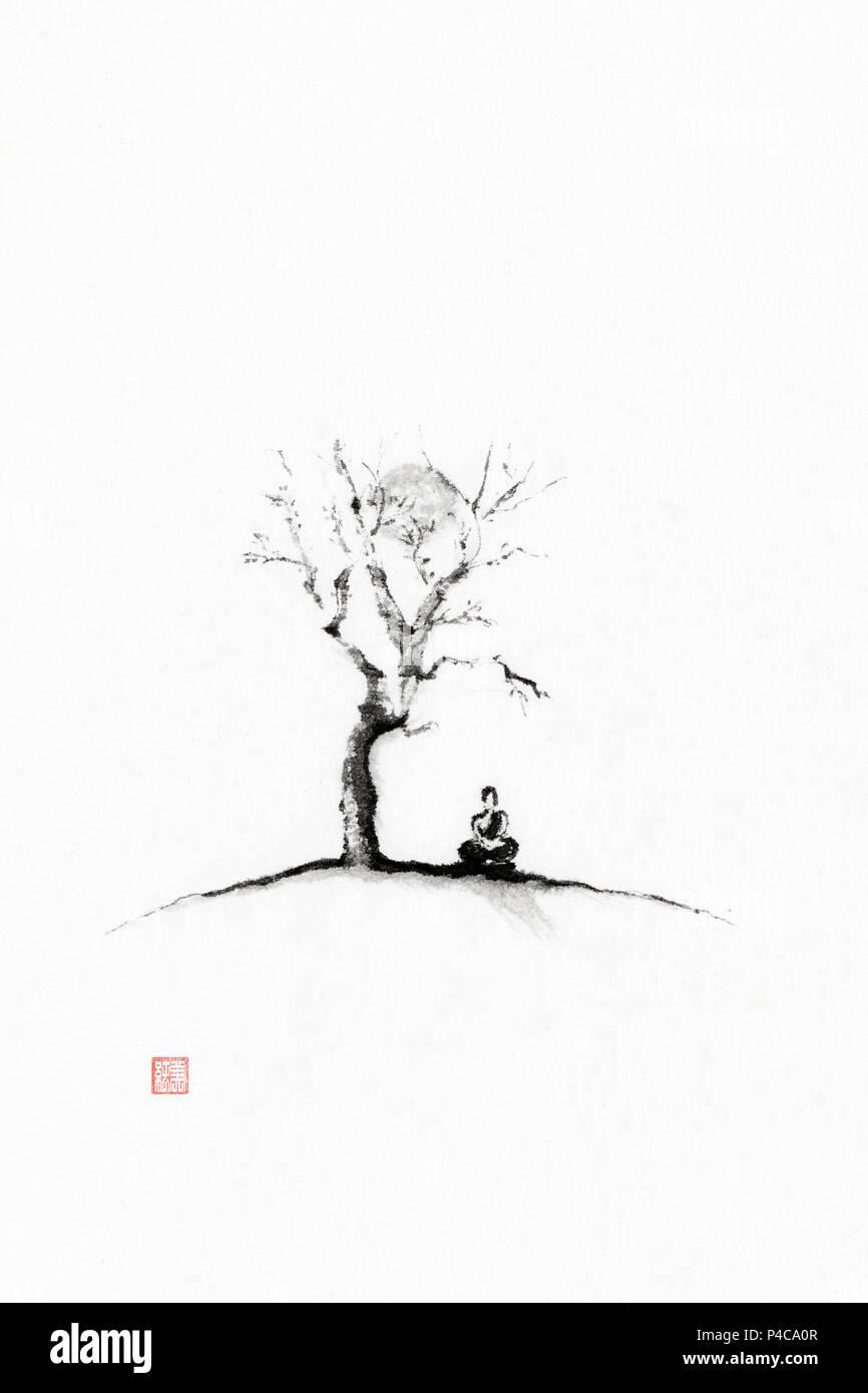 Japanese Zen Sumi-e painting of a monk meditating under a sakura tree in full moon, artistic oriental style illustration, black ink on white rice pape - Stock Image