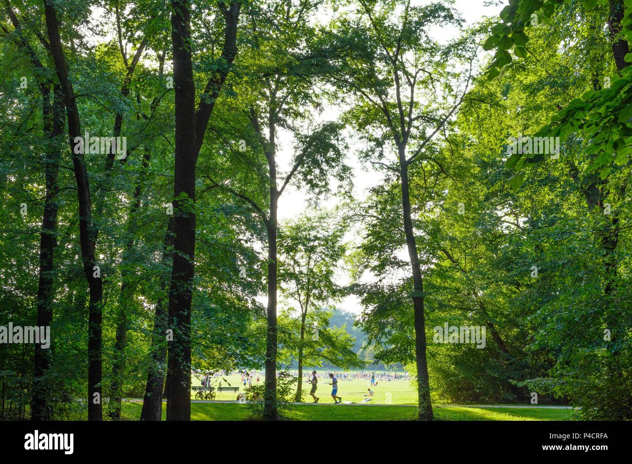 Munich, Englischer Garten (English Garden), view to Monopteros, stream Schwabinger Bach, sunbather, jogger, people, Upper Bavaria, Bavaria, Germany - Stock Image