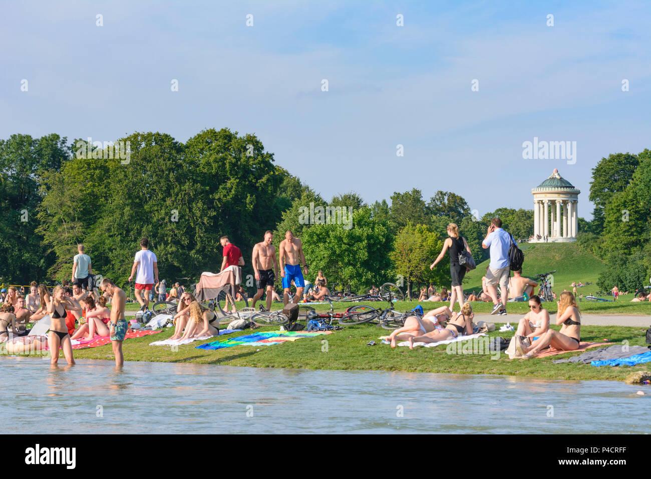Munich, Englischer Garten (English Garden), view to Monopteros, stream Schwabinger Bach, bather, sunbather, people, Upper Bavaria, Bavaria, Germany - Stock Image