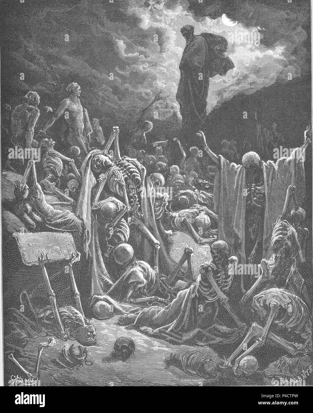 127.EzekielE28099s Vision of the Valley of Dry Bones. - Stock Image