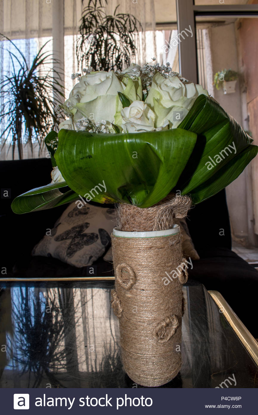 Handmade Hemp Vase A Good Idea For Home Decoration And Decor Stock