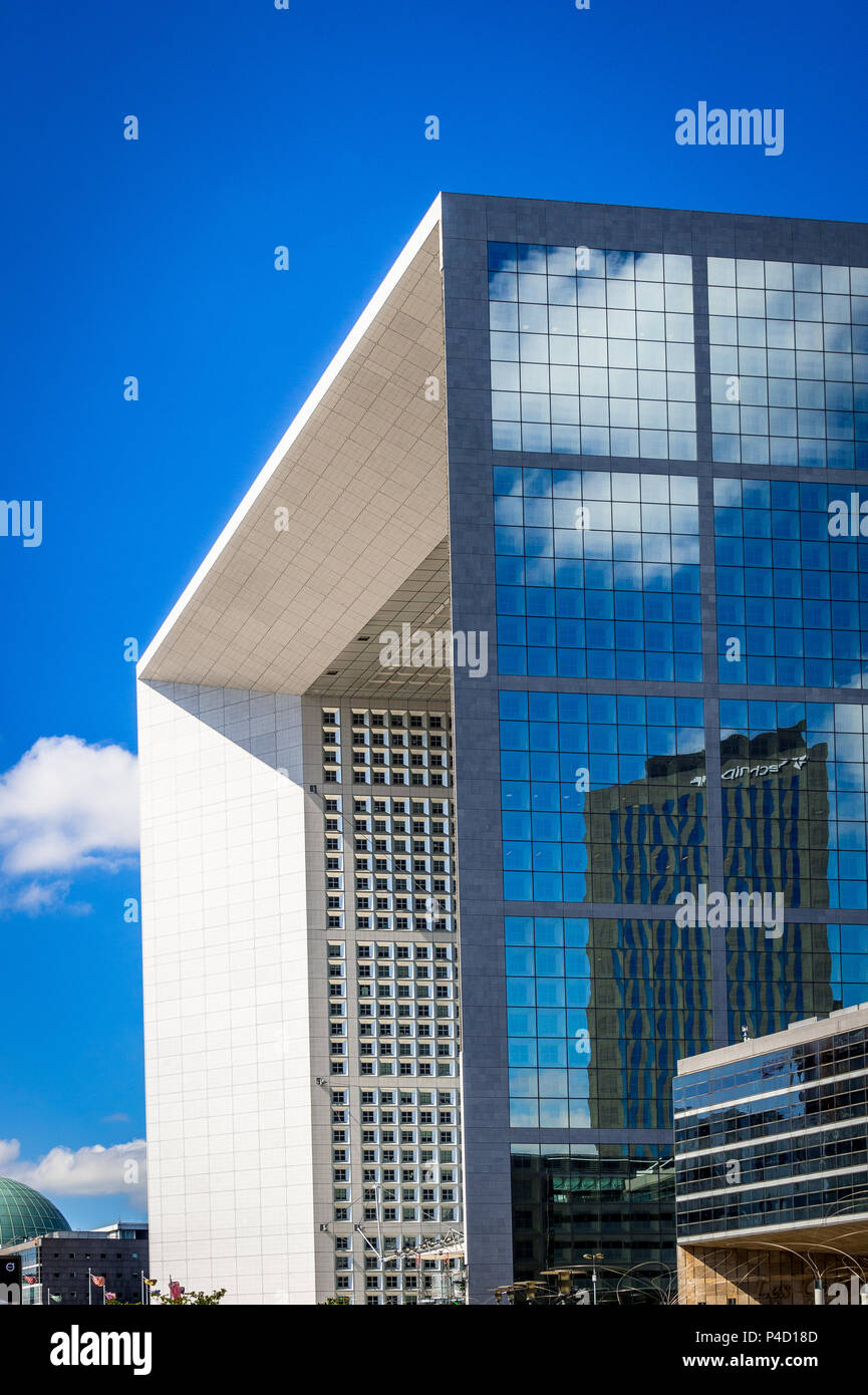 The strange yet wonderful La Defense area in Paris, France that houses an open-air museum. Stock Photo