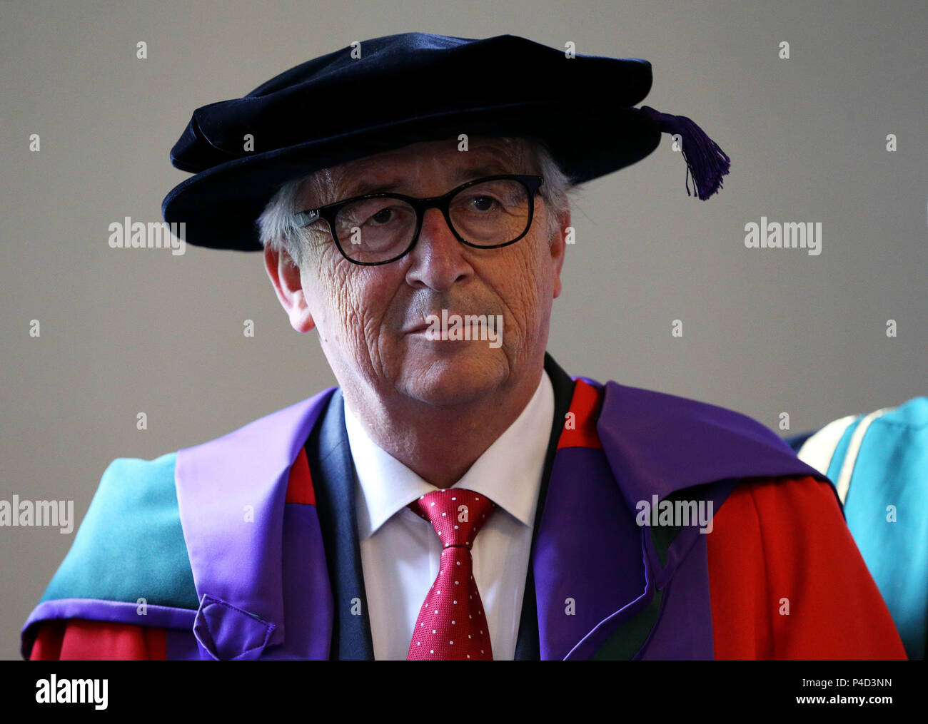 President of the European Commission Jean-Claude Juncker at the Royal College of Surgeons where he received an honorary doctorate during his visit to Dublin, ahead of the European Council on 28-29 June to discuss Brexit and other issues currently on the European agenda. - Stock Image