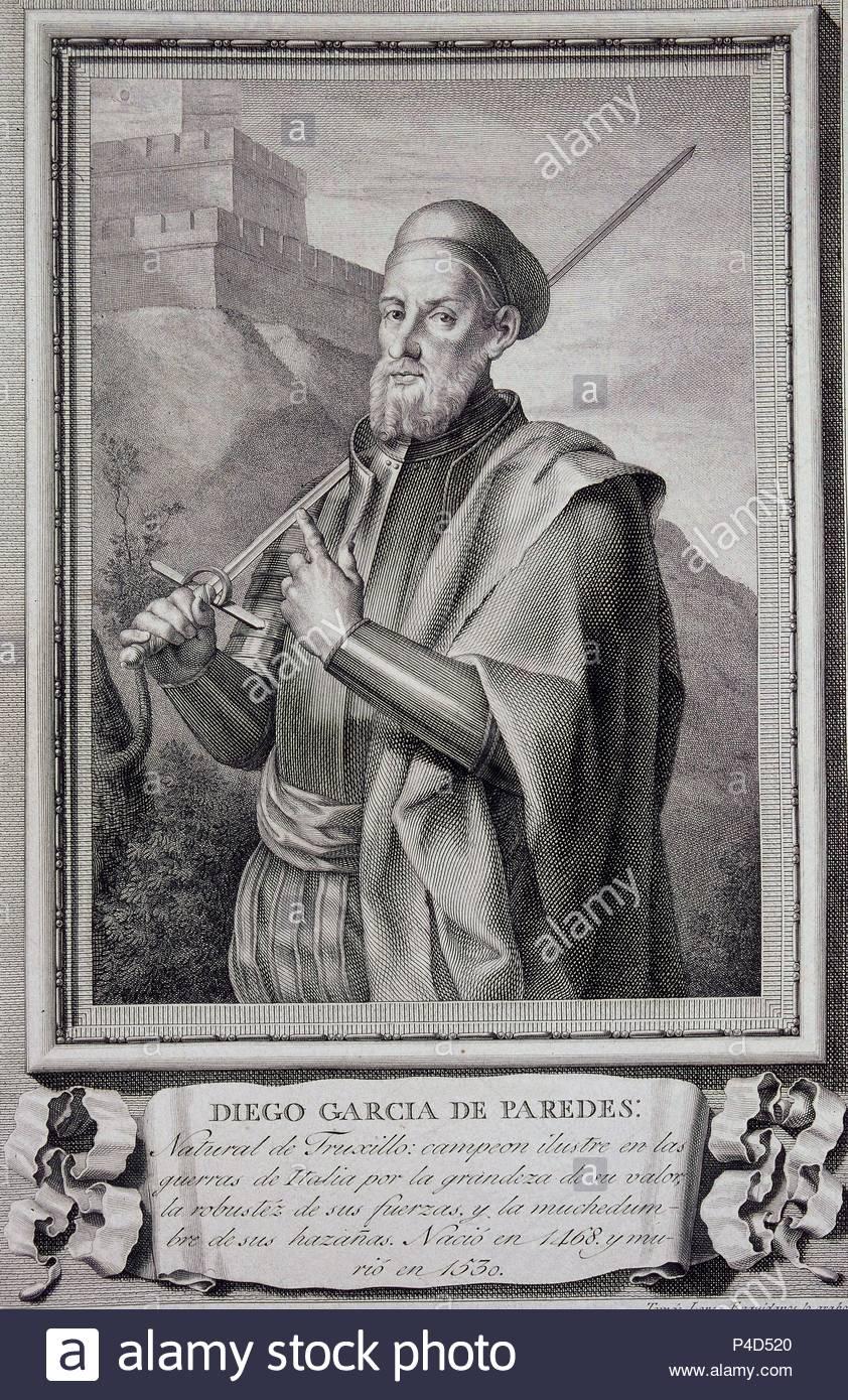 DIEGO GARCIA DE PAREDES (1468-1533) - GRABADO POR TOMAS ENGUIDANOS, BURIL 35x26, COBRE, NºINV 3160. Author: José Maea (1760-1826). Location: CALCOGRAFIA NACIONAL, MADRID, SPAIN. - Stock Image