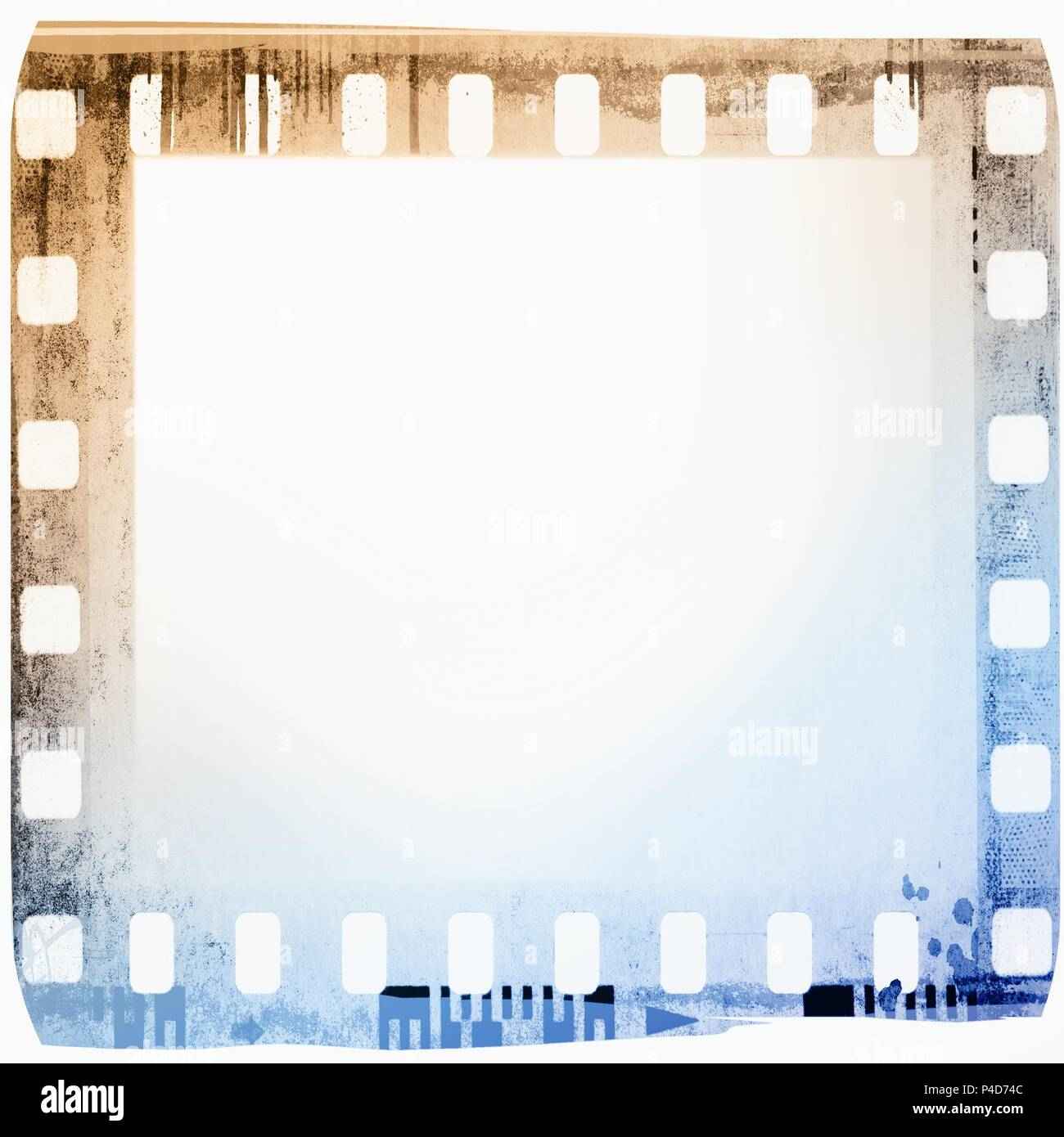 Vintage film strip frame in blue and sepia tones. Stock Photo