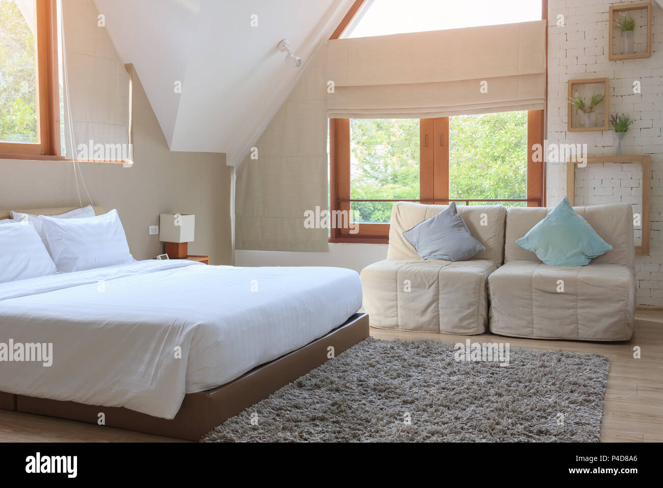 Vintage bedroom interior, with new white bed and pillow, at ...