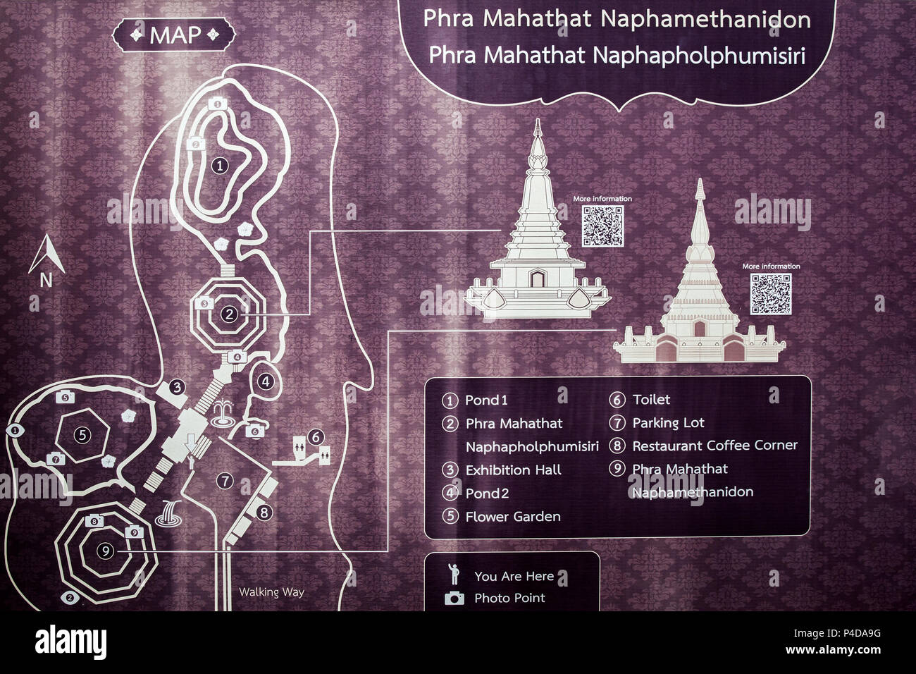 Doi Inthanon  Thailand  map  localization attraction information - Stock Image