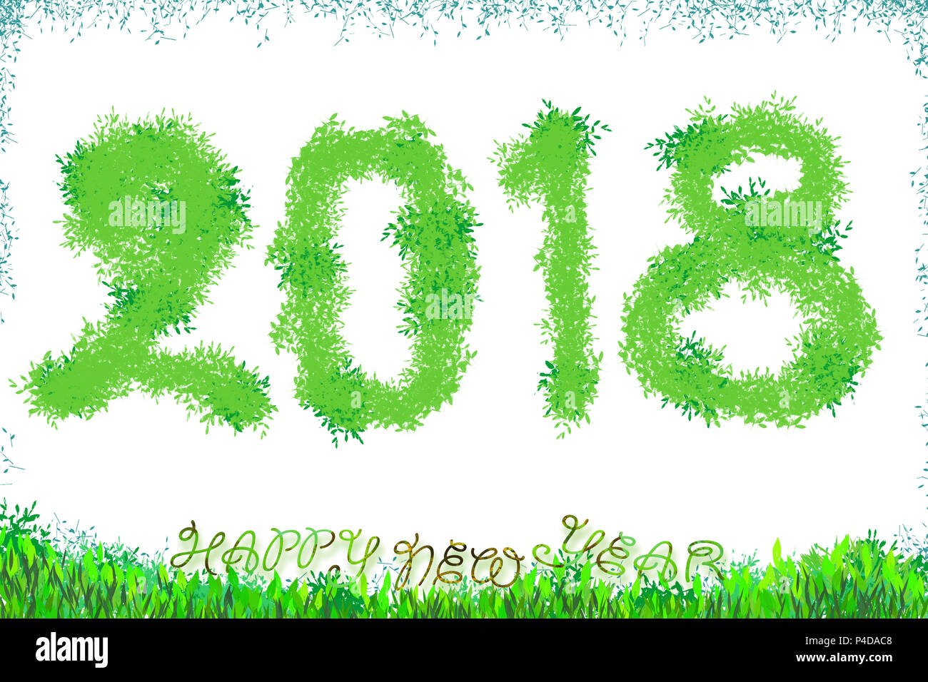 2018 happy new year text calligraphic green leaf design card template creative typography for holiday greeting gift poster calligraphy font style b