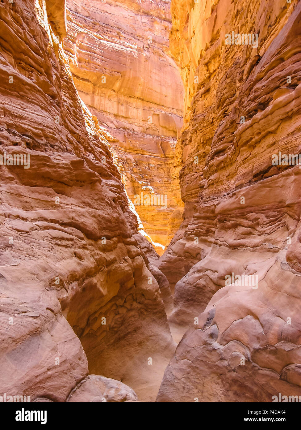 Spectacular deep gorge of Colored Canyon, near Mount Sinai and Nuweiba, Sinai Peninsula in Egypt. - Stock Image