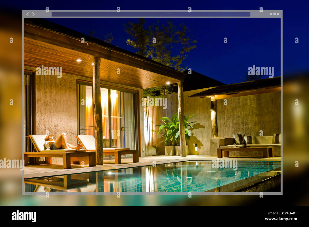 Web site page design concept modern house with swimming pool background