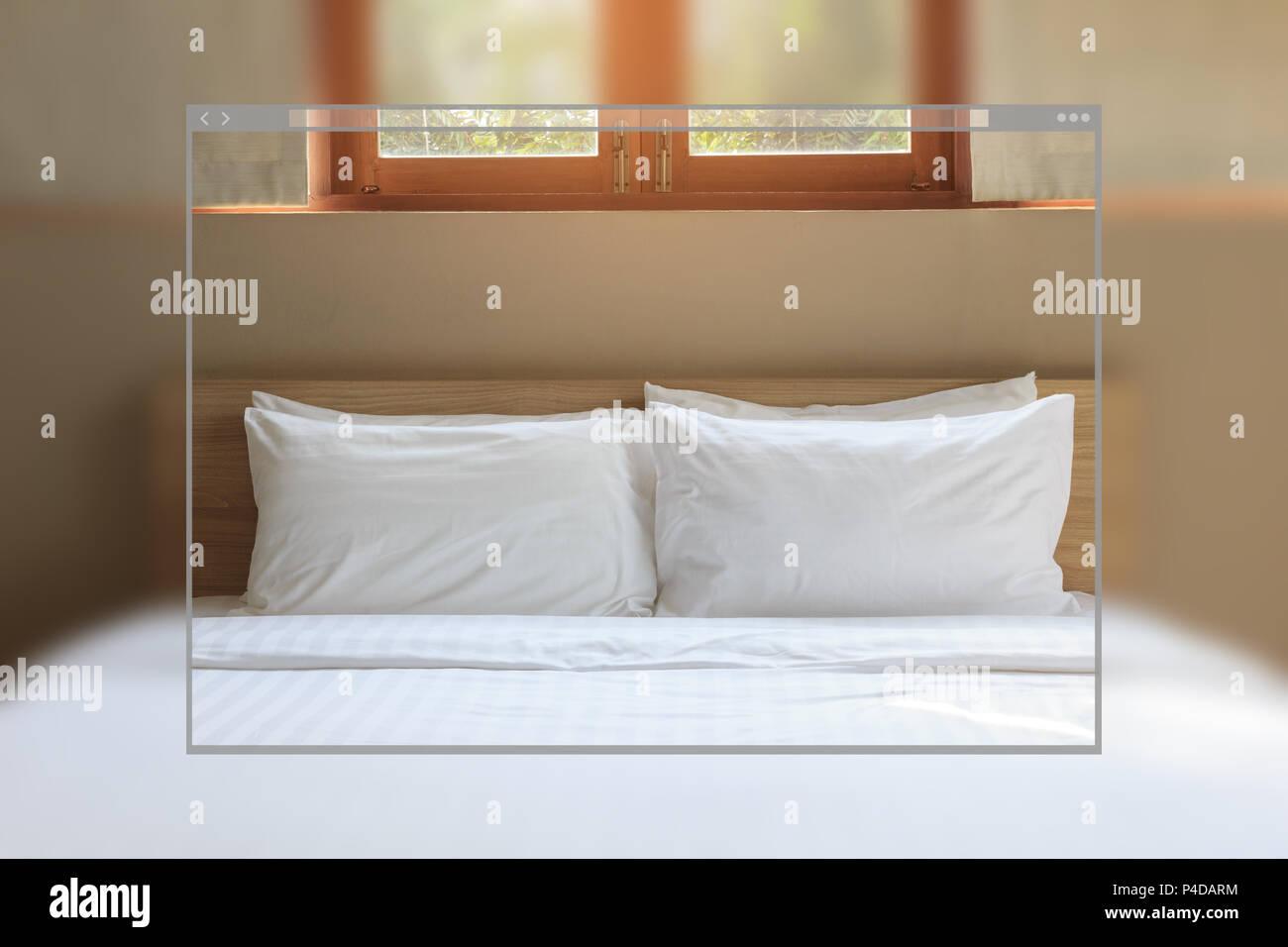 Web Site Page Design Concept Vintage Bedroom Interior Background Stock Photo Alamy