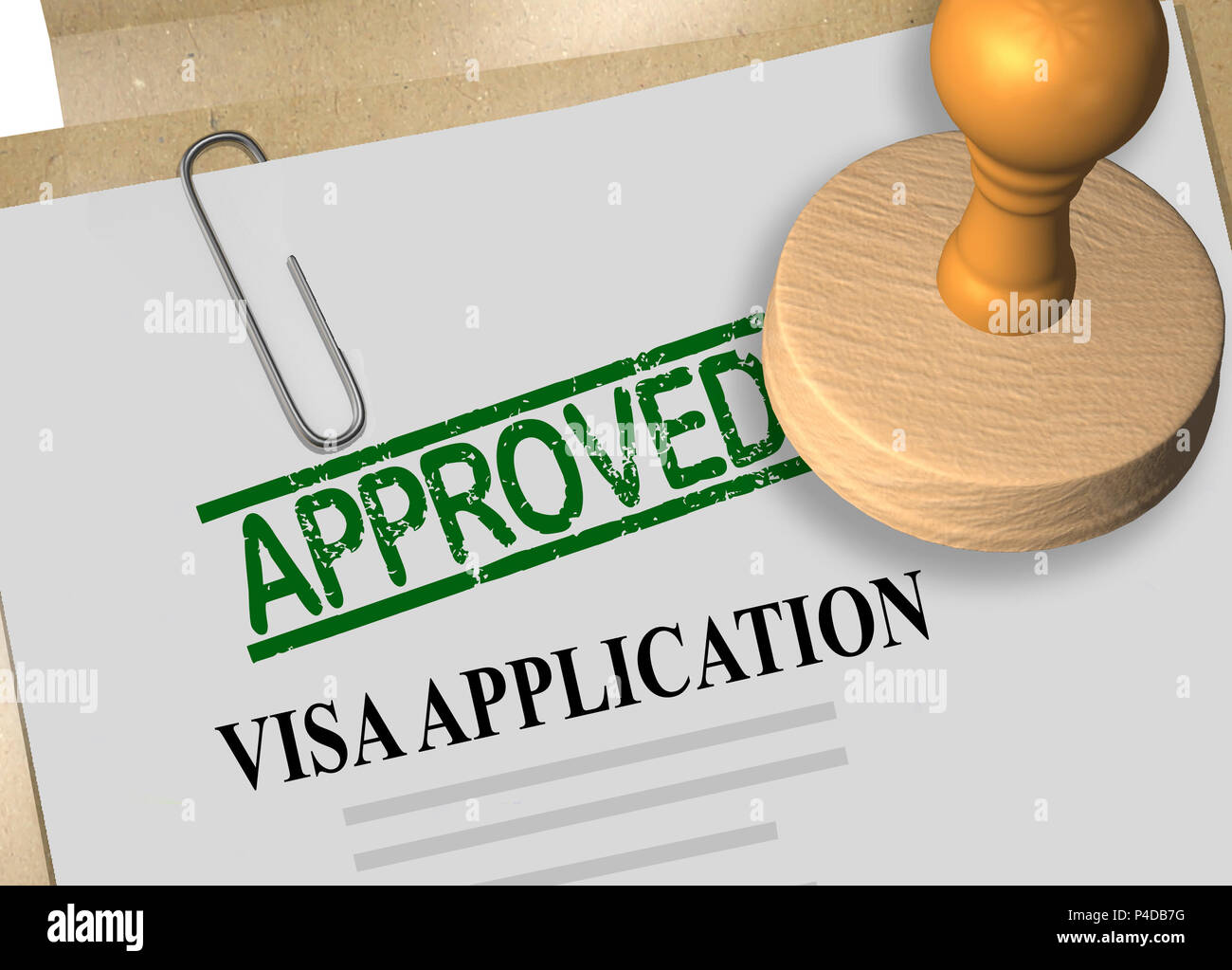 3D illustration of APPROVED stamp title on visa application form Stock Photo