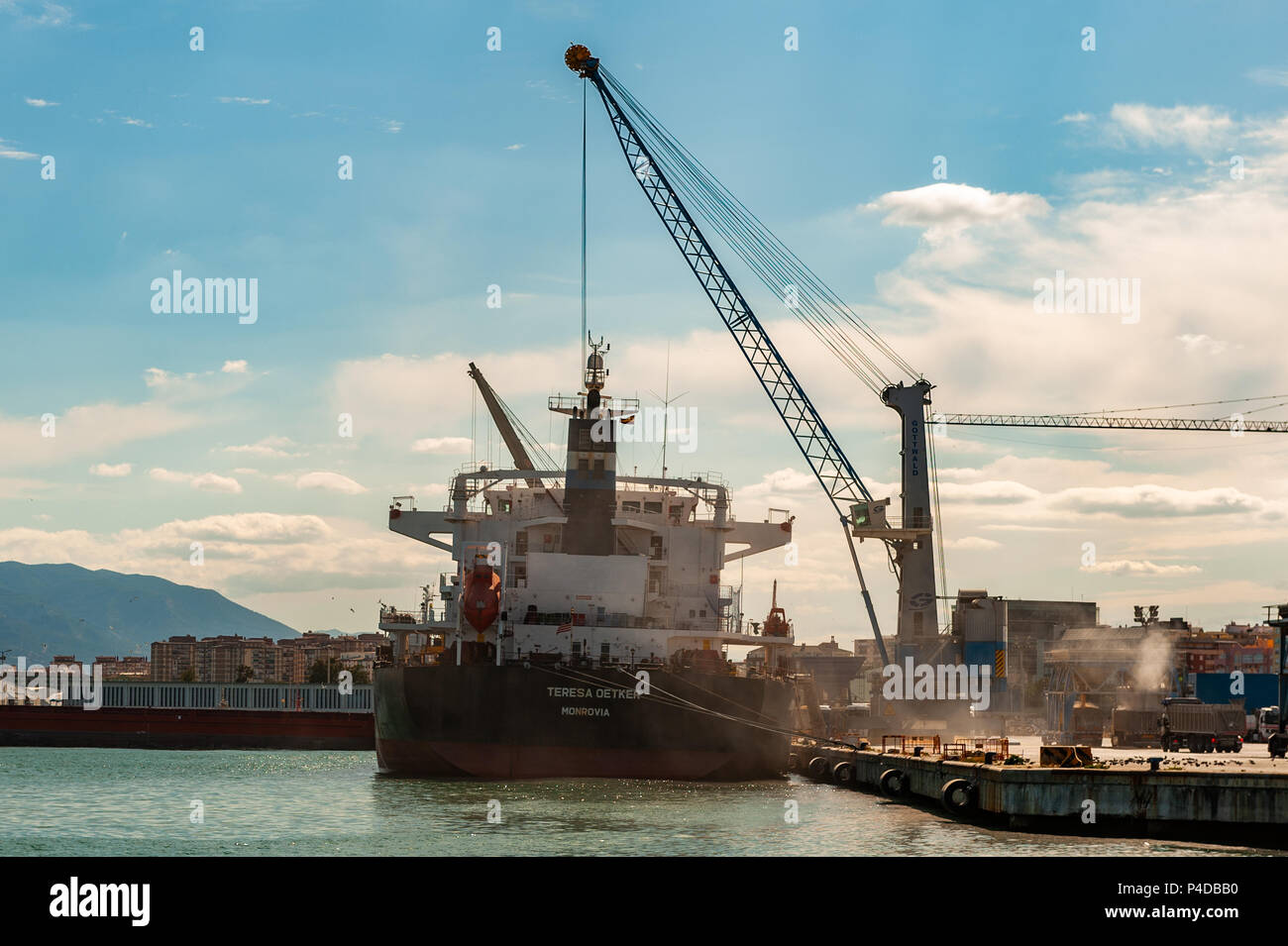 Bulk Carrier Teresa Oetker is loaded at Malaga Port, Malaga Spain. - Stock Image