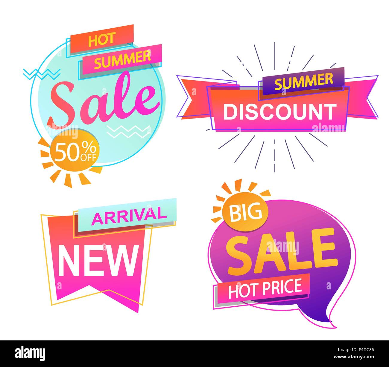 Set of 4 banner elements, sale and discount tag collection, hot summer special offer. Modern website stickers. Vector illustration. - Stock Vector