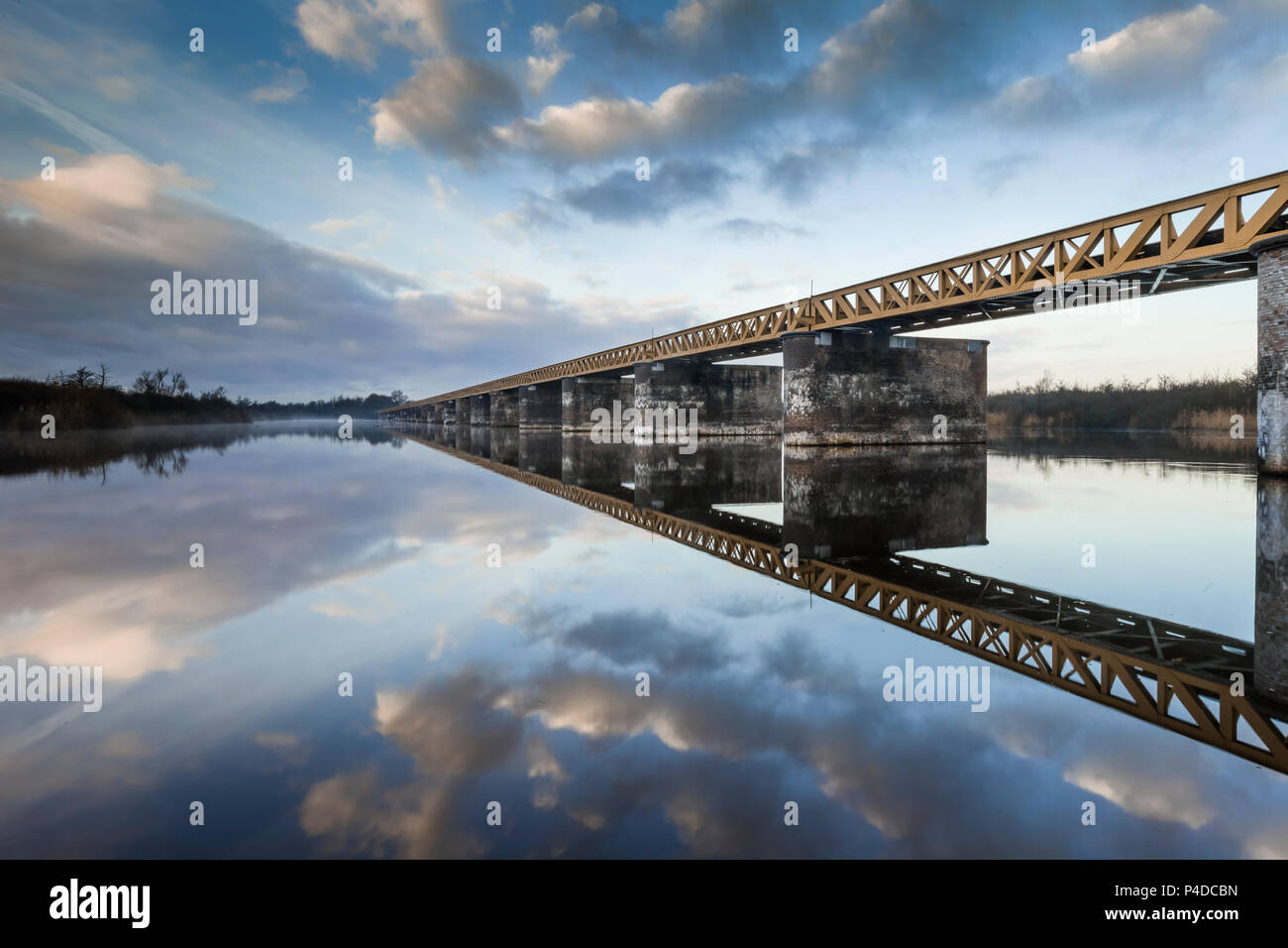 Restored railway bridge in disuse in nature reserve De Moerputten, Den Bosch, The Netherlands - Stock Image