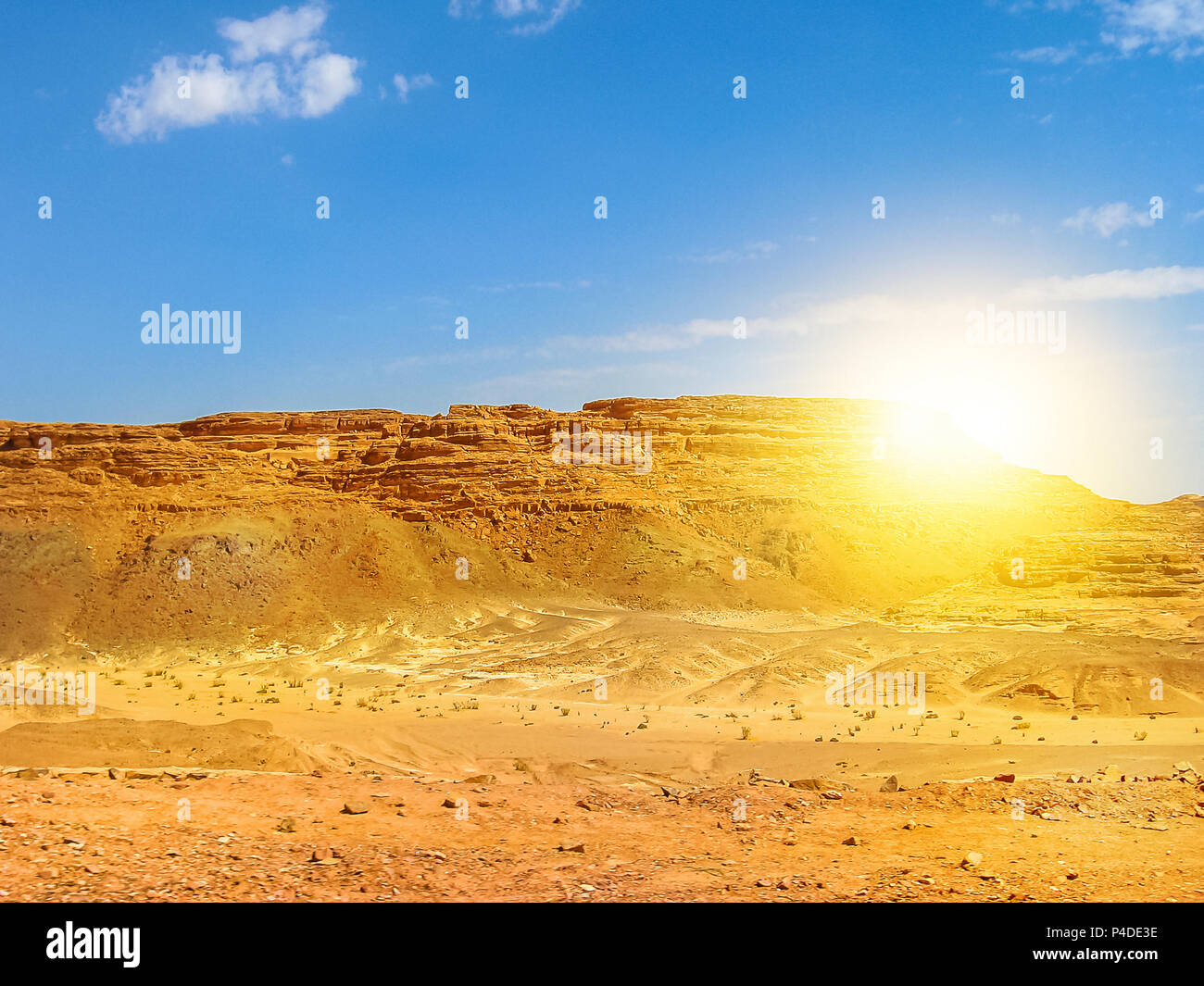 Desert background. Beautiful landscape of spectacular gorge of Colored Canyon, near Mount Sinai and Nuweiba, Sinai Peninsula in Egypt. Sunset light with copy space. - Stock Image