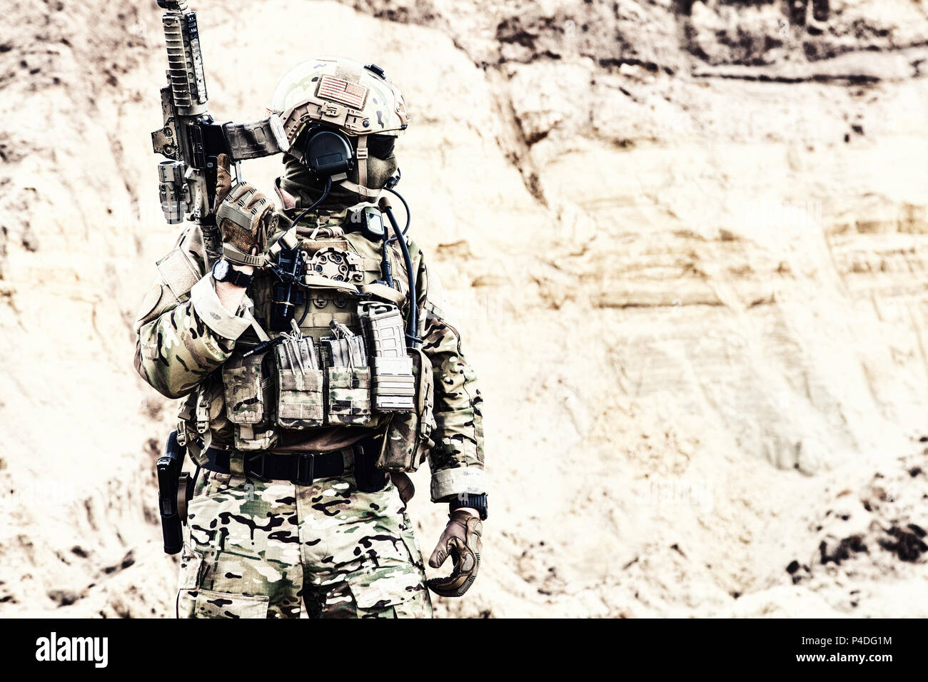 Elite fighter of special forces ready for battle - Stock Image