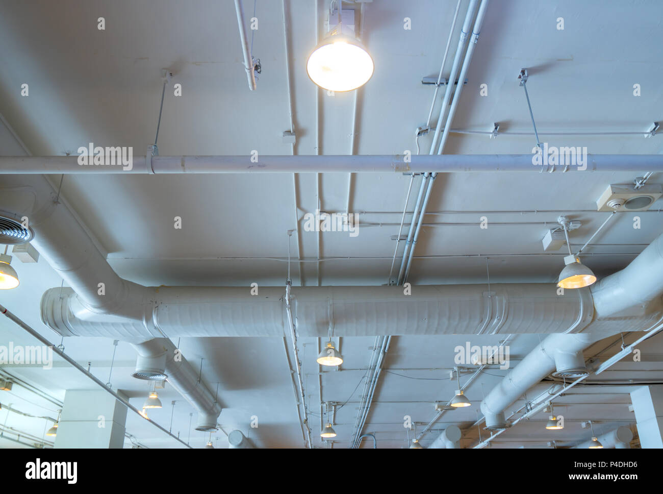 Air Duct Wiring And Plumbing In The Mall Conditioner Pipe System Building Interior Concept